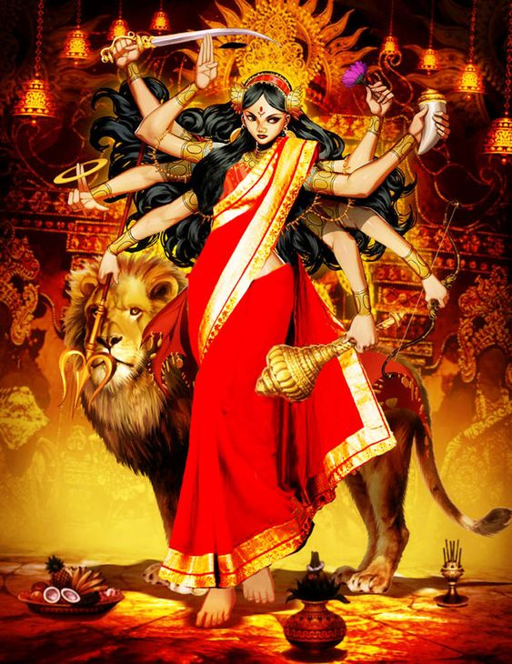 Hindu God Maa Durga Animated Image